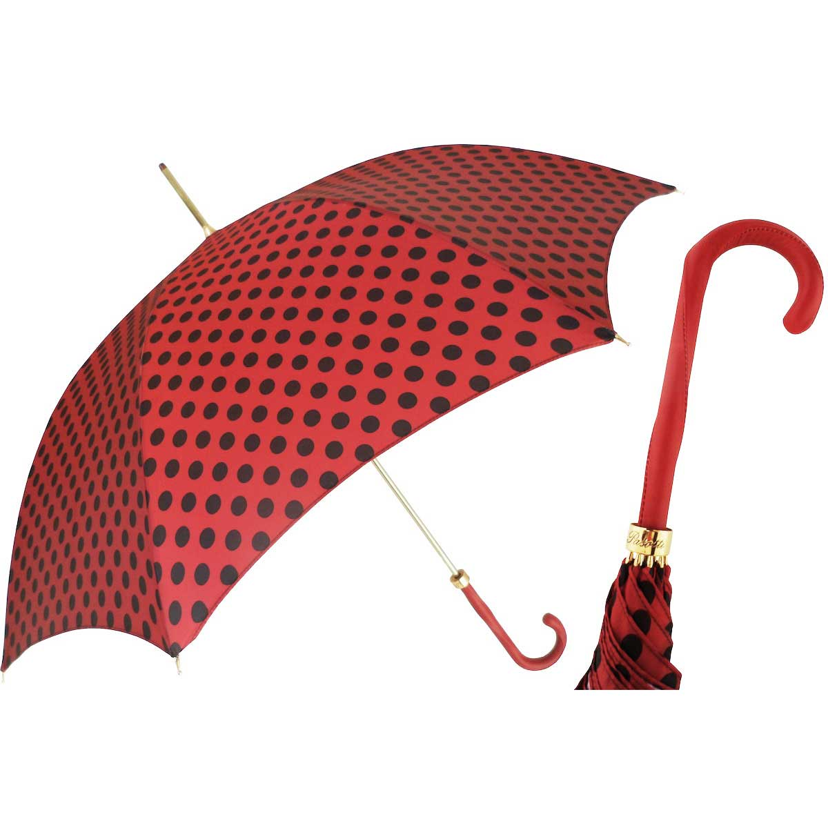 Pasotti Nice Red with Black Polka Dots Women's Umbrella