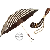 Pasotti Elegant Ivory Brown Striped Classic Women's Umbrella