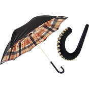 Pasotti Black Tartan Lined Women's Umbrella - Studded Leather Handle