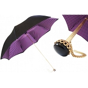 Pasotti Black with Purple Dots Interior Women's Umbrella
