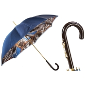 Pasotti Navy with Bridles Print Women's Umbrella - Stirrup Leather Handle