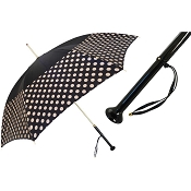Pasotti Black with Ivory Polka Dots Band Women's Umbrella