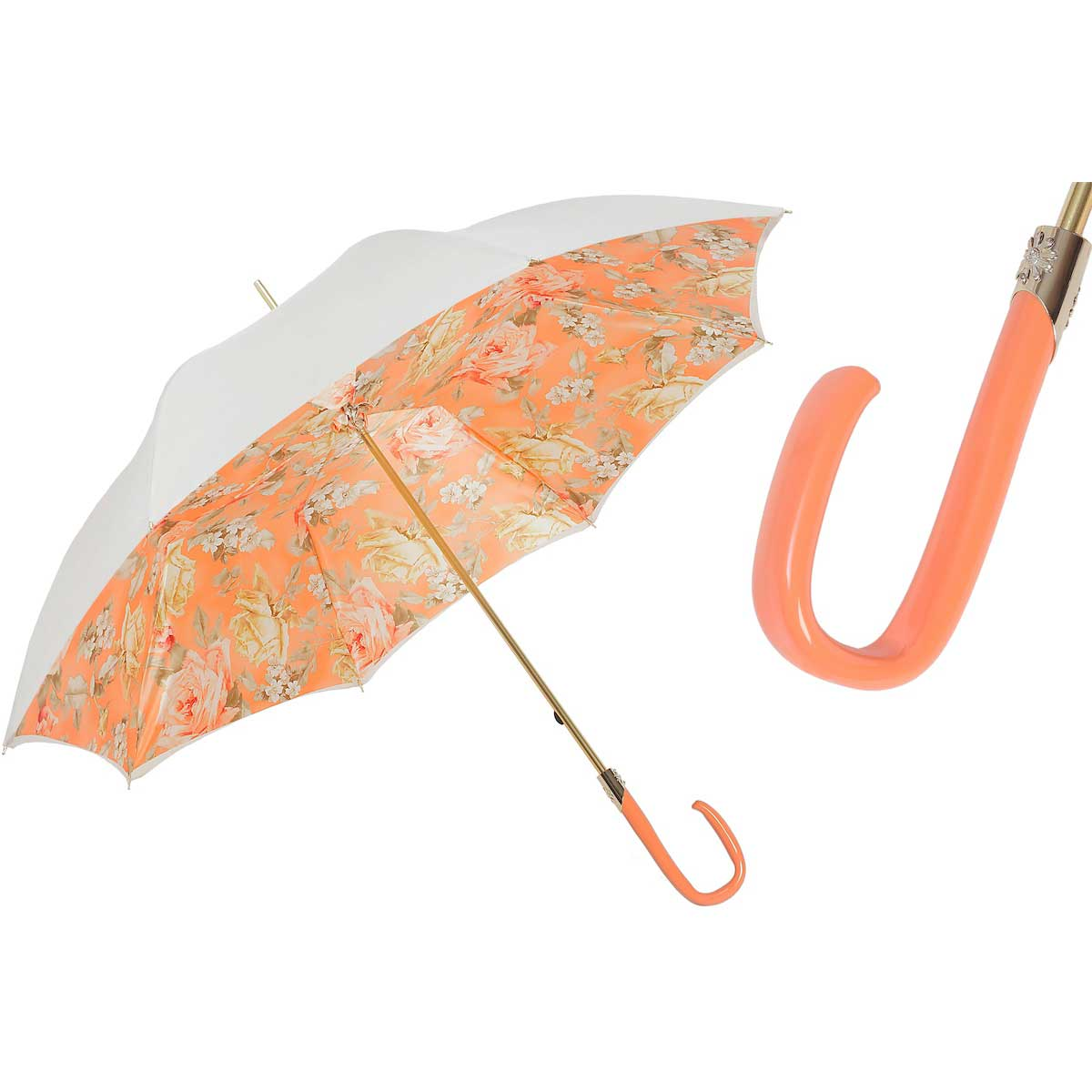 Pasotti Quality White Flowered Women's Umbrella