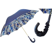 Pasotti Blue Flowers Women's Umbrella - Gathered Leather Handle