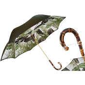 Pasotti Green Forest Flowers Women's Umbrella - Bamboo Handle