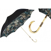 Pasotti Black Elegant Internally Flowered Women's Umbrella