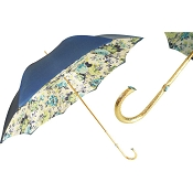 Pasotti Blue Flowered Women's Umbrella - Blue Jeweled Brass Handle