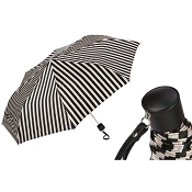 Pasotti Black and White Striped Women's Folding Umbrella
