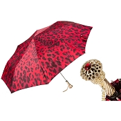 Pasotti Black and Red Animalier Women's Folding Umbrella