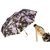 Pasotti Dark Flowered Women's Folding Umbrella
