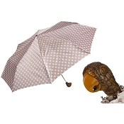 Pasotti Polka Dot Women's Folding Umbrella with Parrot Handle