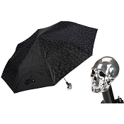 Pasotti Black Skull Women's Folding Umbrella -Silver Skull Handle