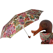 Pasotti Flowered Women's Folding Umbrella with Duck Handle