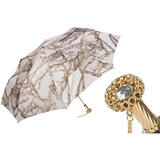 Pasotti Bridles Print White Women's Folding Umbrella