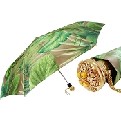 Pasotti Green Leaves Print Women's Folding Umbrella