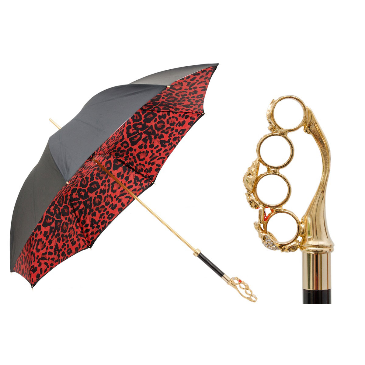 Pasotti Women's Luxury Knuckleduster Umbrella with Red Animal Print