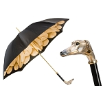 Pasotti Gold Dahlia Greyhound Women's Luxury Black Umbrella