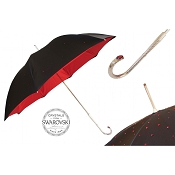 Pasotti Ombrelli Black Swarovski® Luxury Women's Umbrella - Red Interior