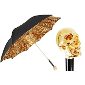 Pasotti Ombrelli Gold Skull Luxury Women's Umbrella - Cheetah Print