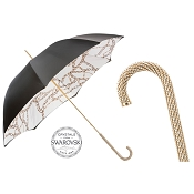Pasotti Ombrelli Women's Luxury Black Umbrella with Chains Printed Interior