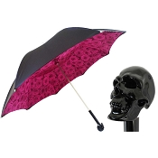 Pasotti Ombrelli Black Skull Luxury Women's Umbrella - Roses Print