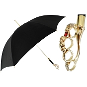 Pasotti Ombrelli Black Luxury Women's Umbrella - Gold Knuckleduster