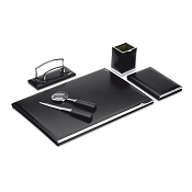 Pineider 1949 Leather 5-piece Desk Set with Medium Desk Pad