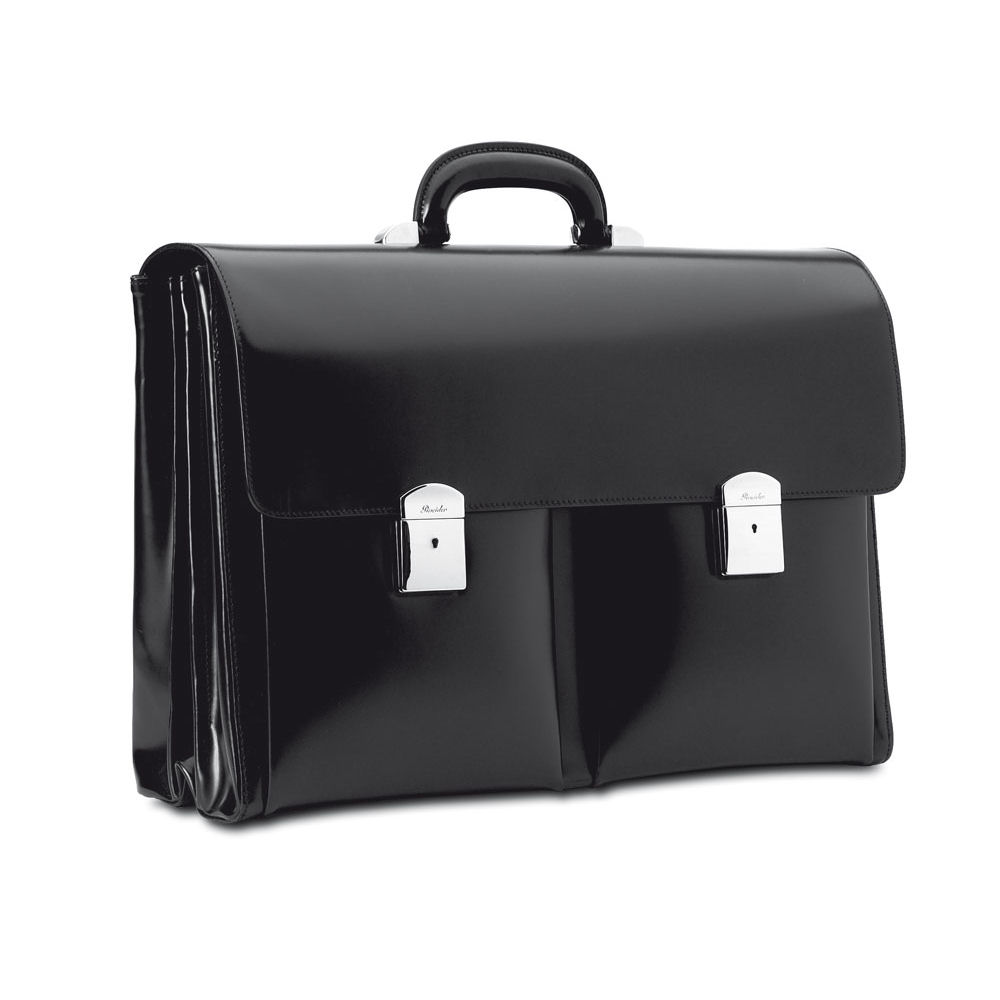 Pineider 1949 Classic Executive Leather Briefcase - Triple Gusset