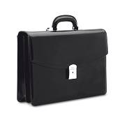Pineider 1949 Classic Executive Leather Briefcase - 2 Gussets - Medium