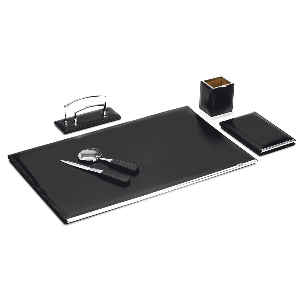 Pineider 1949 Leather 5-piece Desk Set with Large Desk Pad