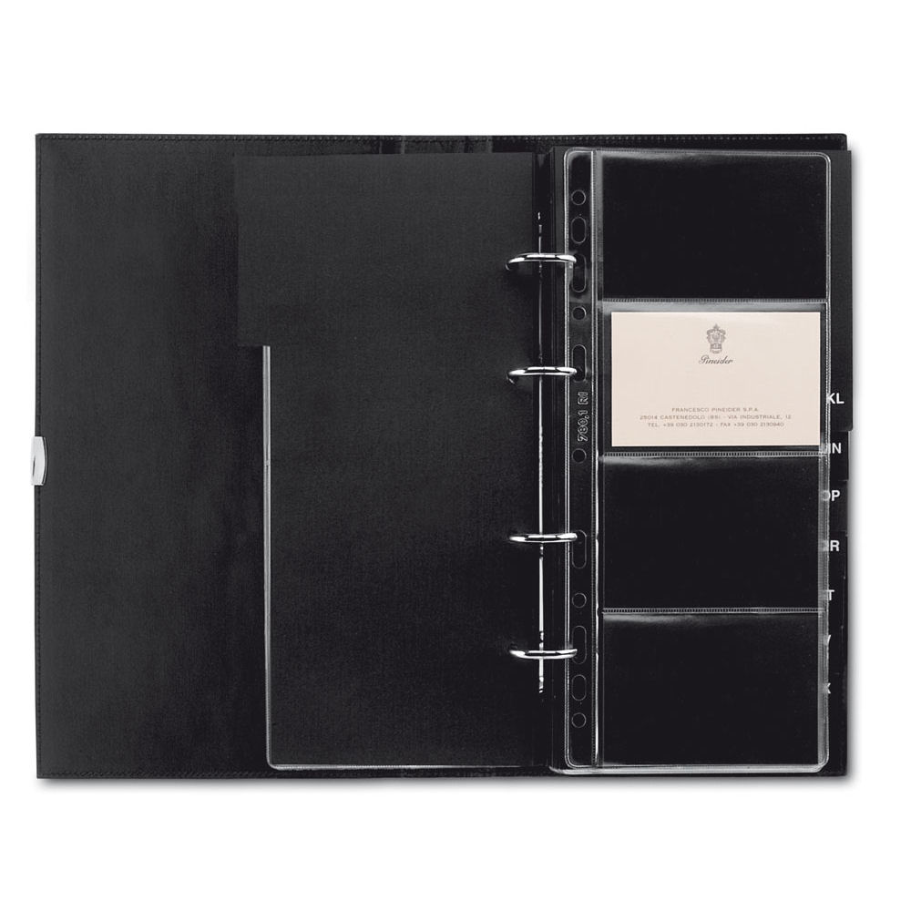Pineider 1949 Leather 4-Ring Business Card Organizer Book