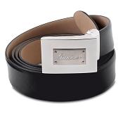 Pineider 1949 Leather Belt with Rectangular Buckle
