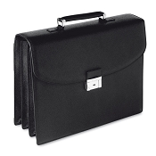Pineider City Chic Veau Grainé  Calf Leather Briefcase - Triple Gusset