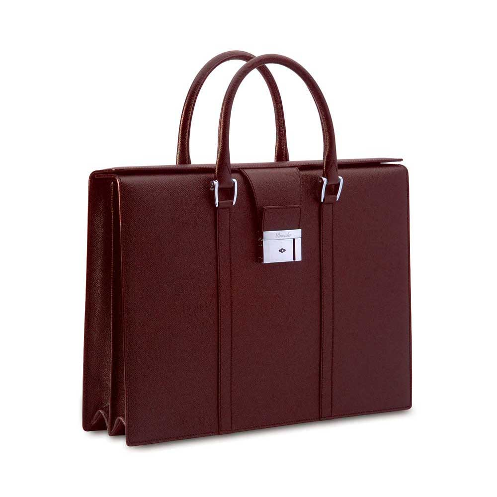 Pineider City Chic Leather Luxury Business Briefcase - Bordeaux - Double Gusset