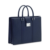 Pineider City Chic Leather Luxury Business Briefcase - Blue - Double Gusset
