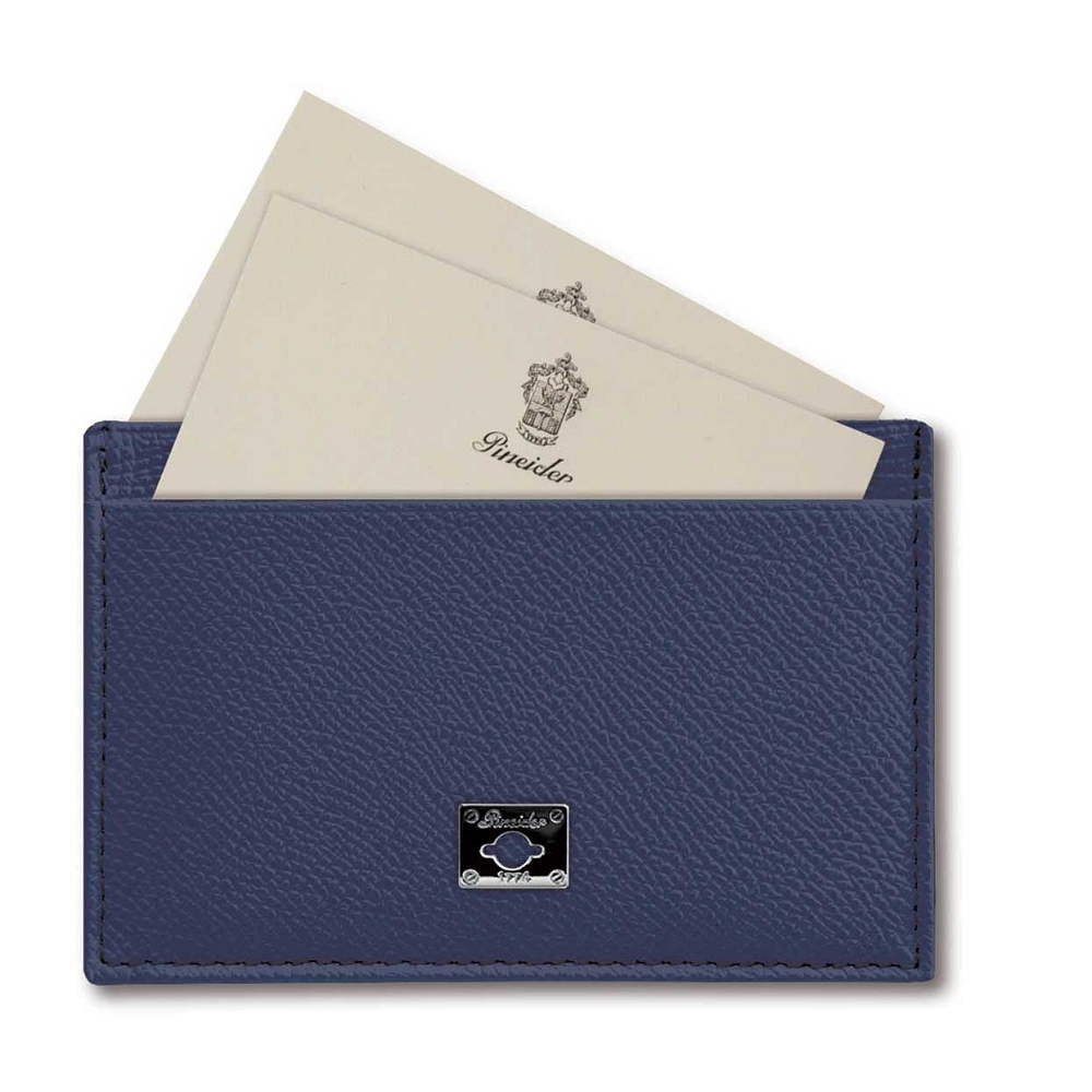 6595aa16b68585 City Chic Leather Business Card Holder - Flat with Slots and embellished  with Pineider personalized Palladium Plate.