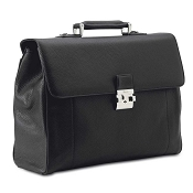 Pineider Country Leather Men's Satchel Briefcase - Double Gusset