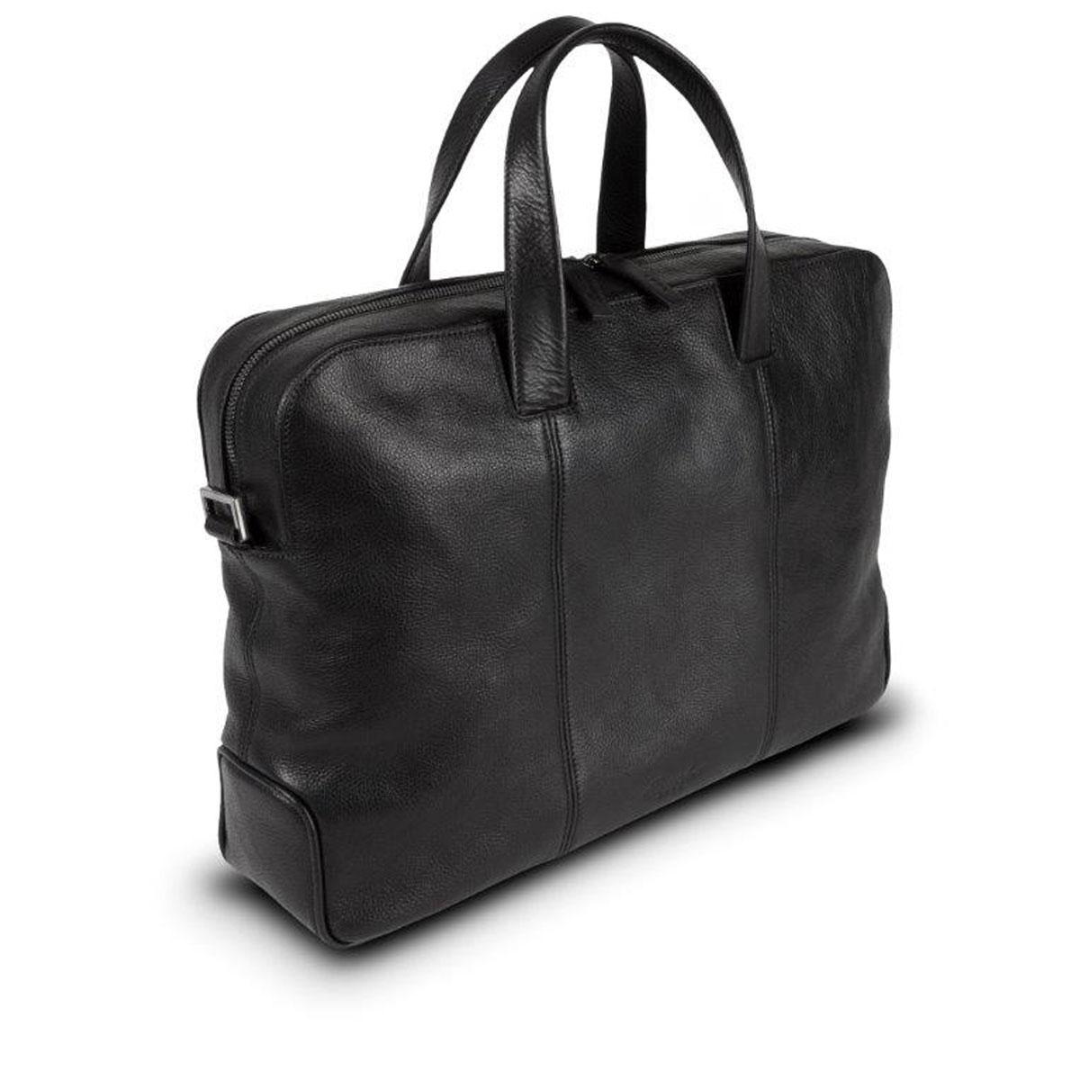 5d1f2f141576 Pineider Country Black Leather 2-Handle Document & Laptop Bag   Shoulder  Strap