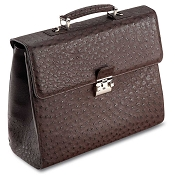 Pineider Country Ostrich Briefcase - 2 Gussets - Limited Edition