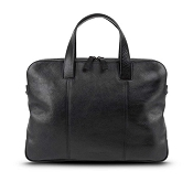 Pineider Country Black Leather 2-Handle Slim Laptop Holder & Document Bag