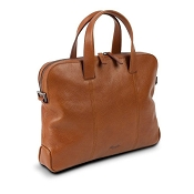 Pineider Country Cognac Leather 2-Handle Slim Laptop Holder & Document Bag