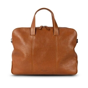 Pineider Country Cognac Leather 2-Handle Document & Laptop Bag