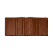 Pineider Country Cognac Leather Bi-Fold Wallet - 12 Credit Card