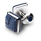 Pineider Silver and Braided Leather Knot Cufflinks - Square