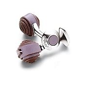 Pineider Silver and Leather Knot Cufflinks - Spiral