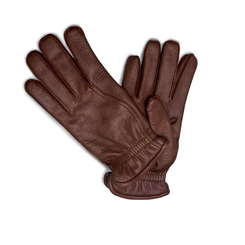 f2eb9d87f6d33 Pineider Men s Leather Gloves - Reddish Brown Deerskin - Cashmere
