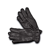 Pineider Men's Black Deerskin Leather Gloves - Cashmere Lined