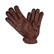 Pineider Men's Reddish Brown Deerskin Leather Gloves - Cashmere Lined