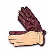 Pineider Men's Reddish Brown & Yellow Deerskin Leather Gloves - Cashmere Lined