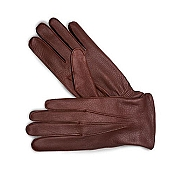 Pineider Men's Leather Gloves - Reddish Brown Deerskin